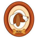Retrato del indicador, marco de madera, invitación del hueso de perro Fotografía de archivo