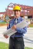 Retrato del ingeniero en el sitio del contruction Imagen de archivo libre de regalías