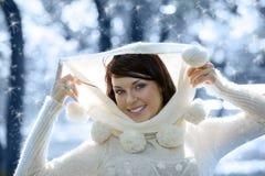 Retrato del invierno con nieve Fotos de archivo