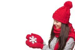 Retrato del invierno de la hembra hermosa Foto de archivo libre de regalías