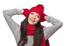 Retrato del invierno de la hembra hermosa Fotos de archivo libres de regalías