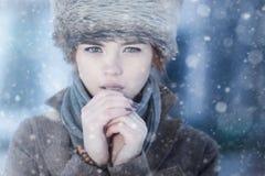 Retrato del invierno de la mujer joven Imagen de archivo libre de regalías