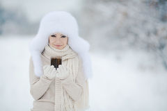 Retrato del invierno de la mujer sonriente hermosa con los copos de nieve en las pieles blancas Imagen de archivo