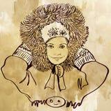 Retrato del invierno de la niña linda en estilo del vintage Imagen de archivo libre de regalías