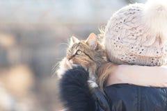 Retrato del invierno de una mujer con un gato Fotografía de archivo libre de regalías