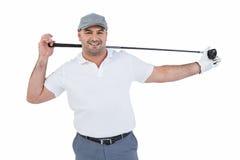 Retrato del jugador de golf que detiene a un club de golf Fotos de archivo libres de regalías
