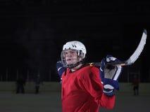 Retrato del jugador de hockey Imágenes de archivo libres de regalías