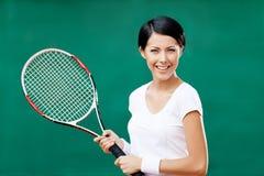 Retrato del jugador de tenis de sexo femenino Foto de archivo