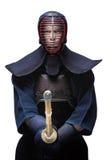 Retrato del kendoka equipado con shinai Foto de archivo libre de regalías
