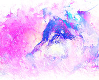 Retrato del lobo, lobo cósmico poderoso en espacio cósmico libre illustration