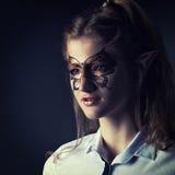 Retrato del místico-duende de la muchacha en ropa moderna Imagen de archivo libre de regalías