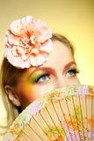 Retrato del maquillaje creativo del ojo de la manera del verano Fotos de archivo libres de regalías