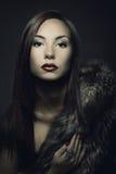Retrato del maquillaje de la belleza de la mujer en abrigo de pieles de lujo Imagenes de archivo