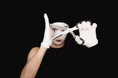 Retrato del mime con las tijeras Imagen de archivo libre de regalías