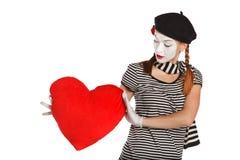 Retrato del mime del día de tarjeta del día de San Valentín foto de archivo