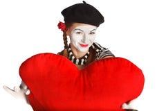 Retrato del mime del día de tarjeta del día de San Valentín Imagen de archivo libre de regalías