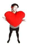 Retrato del mime del día de tarjeta del día de San Valentín Imagen de archivo