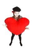 Retrato del mime del día de tarjeta del día de San Valentín Fotografía de archivo