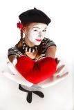 Retrato del mime del día de tarjeta del día de San Valentín Foto de archivo libre de regalías