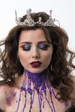 Retrato del modelo hermoso de la mujer con maquillaje profesional Imagen de archivo