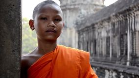 Retrato del monje del Khmer almacen de metraje de vídeo