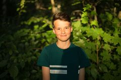 Retrato del muchacho adolescente hermoso sonriente en bosque Fotos de archivo