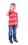 Retrato del muchacho aislado en blanco Imagen de archivo libre de regalías