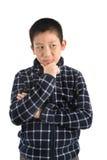 Retrato del muchacho asiático en blanco Imagenes de archivo