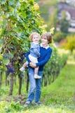 Retrato del muchacho con su hermana del bebé en yarda de la vid Fotos de archivo