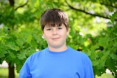 Retrato del muchacho de cerca de 12 años en Oak Park Imagenes de archivo