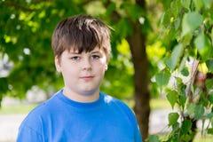 Retrato del muchacho de cerca de 12 años en parque Foto de archivo libre de regalías