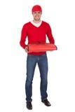 Retrato del muchacho de salida de la pizza con el bolso termal Fotografía de archivo libre de regalías