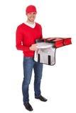 Retrato del muchacho de salida de la pizza con el bolso termal Imagenes de archivo