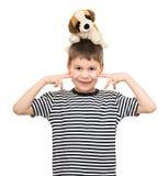 Retrato del muchacho en camisa rayada en blanco Fotos de archivo
