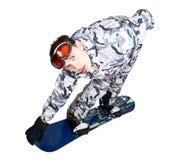 Retrato del muchacho en ropa de deportes con el snowboard Imágenes de archivo libres de regalías