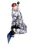 Retrato del muchacho en ropa de deportes con el snowboard Fotografía de archivo