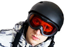 Retrato del muchacho en ropa de deportes con el snowboard Fotografía de archivo libre de regalías