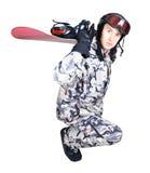 Retrato del muchacho en ropa de deportes con el snowboard Imagen de archivo libre de regalías