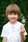 Retrato del muchacho feliz sonriente en el arbusto verde imagen de archivo libre de regalías
