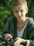 Retrato del muchacho fruncido el ceño Fotografía de archivo