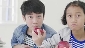 Retrato del muchacho joven y de la niña asiáticos que comen una manzana y que miran la cámara con la cara de la sonrisa almacen de video