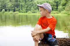 Retrato del muchacho pensativo Imagen de archivo libre de regalías
