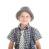 Retrato del muchacho rubio que lleva un sombrero Imágenes de archivo libres de regalías