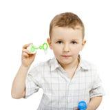 Retrato del muchacho sin el jabón de la burbuja Imagen de archivo libre de regalías