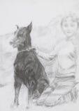 Retrato del muchacho y de su perro Imagenes de archivo