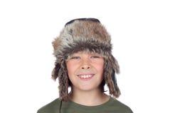 Retrato del niño adorable con un sombrero de cuero Imágenes de archivo libres de regalías