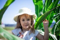 Retrato del niño dulce en un prado verde Fotografía de archivo libre de regalías