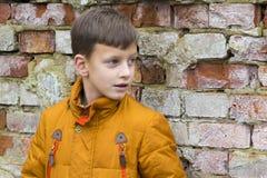 Retrato del niño pequeño en la chaqueta que presenta sobre fondo de la pared de ladrillo Foto de archivo