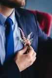 Retrato del novio Casarse al detalle del novio imagen de archivo libre de regalías