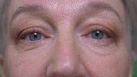 Retrato del ojo del primer de los relojes mayores de la mujer tranquilamente y atento en c?mara metrajes
